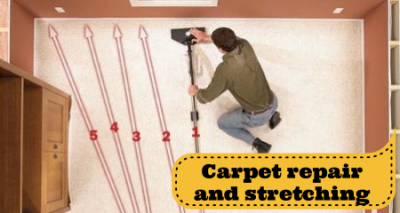 carpet stretching, carpet re-stretching, carpet repair in Fredericksburg and Stafford VA