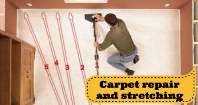 carpet stretching, carpet re-stretching, carpet repair in Fredericksburg and Stafford VA